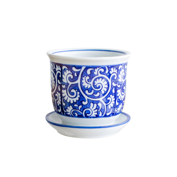 "4"" Porcelain Round Blue Scroll Planter"