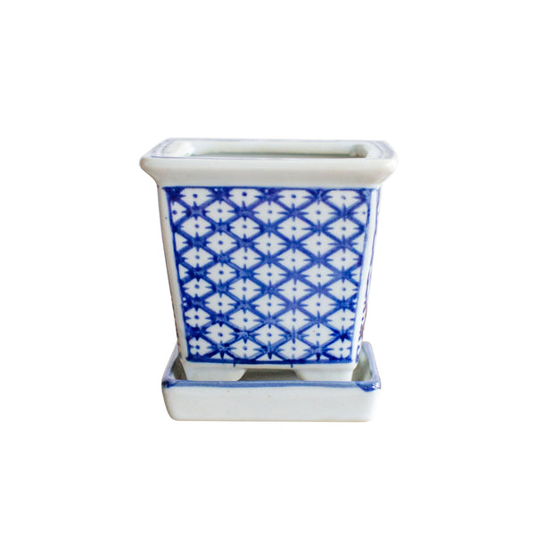 "4"" Porcelain Diamond Square Planter"