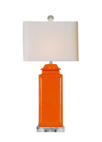 Orange Pagoda Jar Lamp