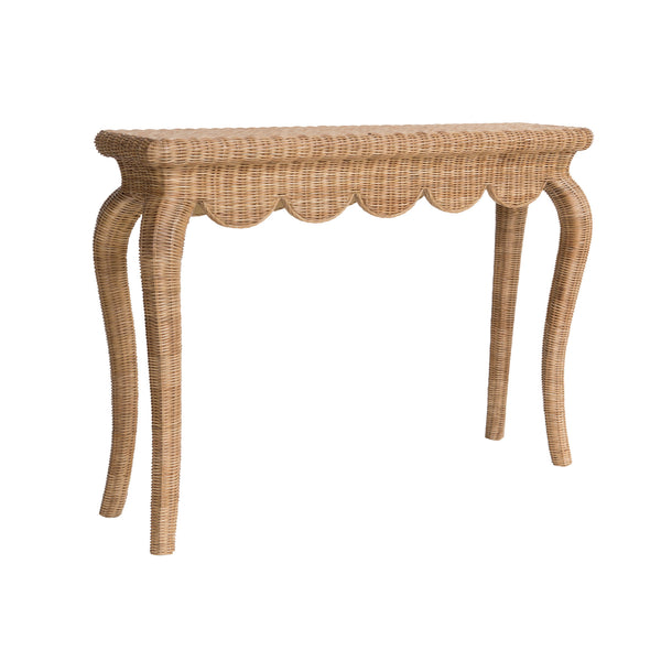 Amelia Scalloped Wicker Table
