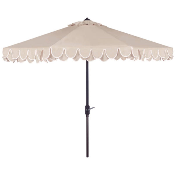 Amalfi Double Scalloped Umbrella in Beige & White