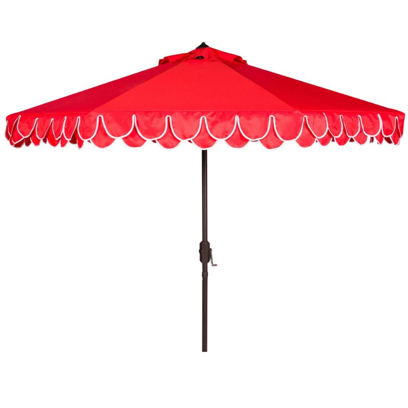 Amalfi Double Scalloped Umbrella in Red & White