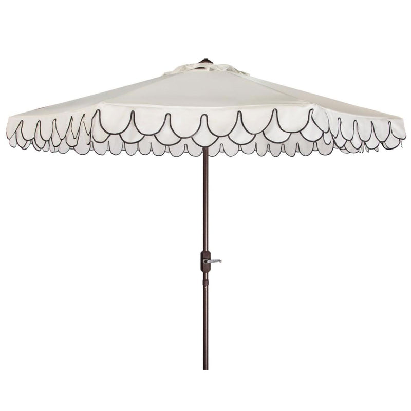 Amalfi Double Scalloped Umbrella in White & Black