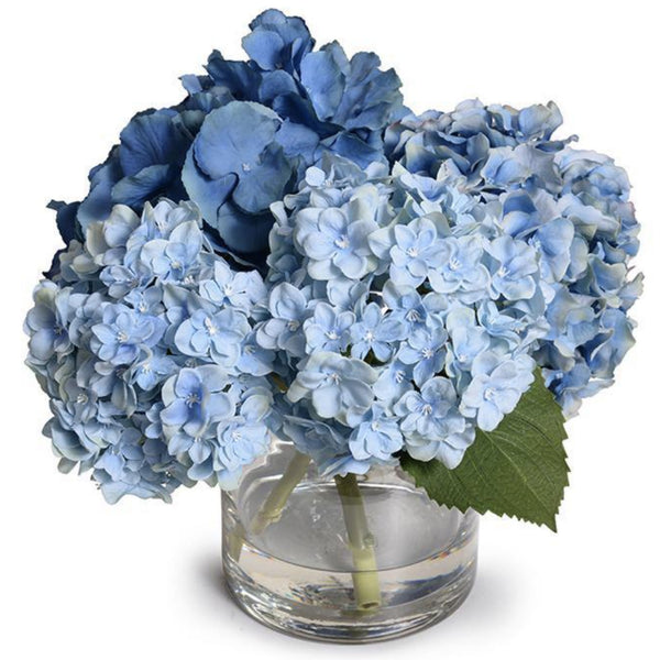 Blue Hydrangea Arrangement in Glass Vase