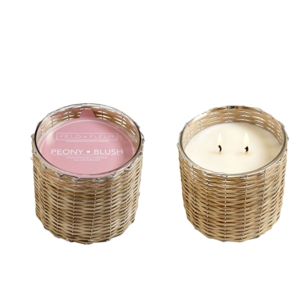 Peony & Blush Handwoven Wicker Candle