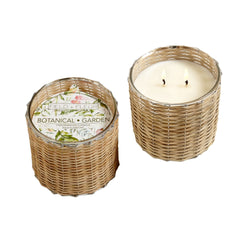 Botanical Garden Handwoven Wicker Candle