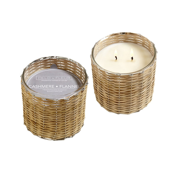 Cashmere Flannel Handwoven Wicker Candle