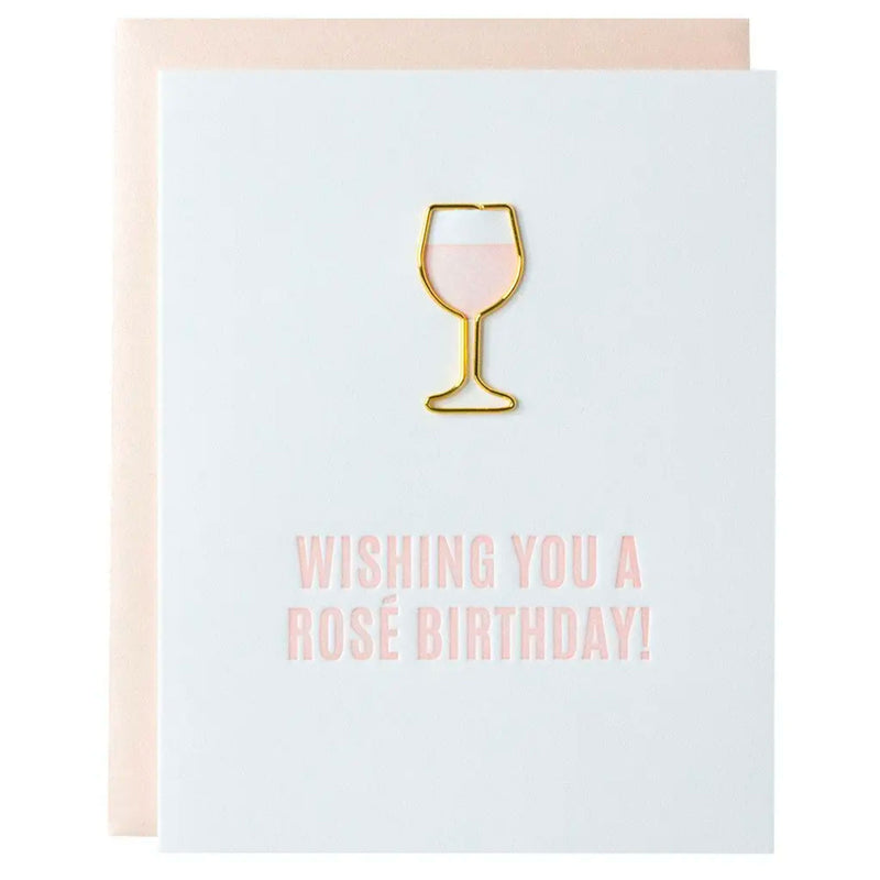 Wishing You a Rosé Birthday Paper Clip Card