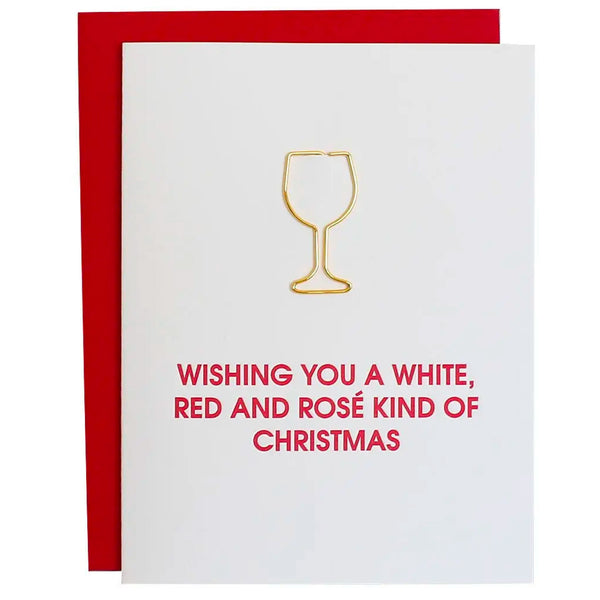 Wishing You a White Wine Card  with  Wine Paper Clip