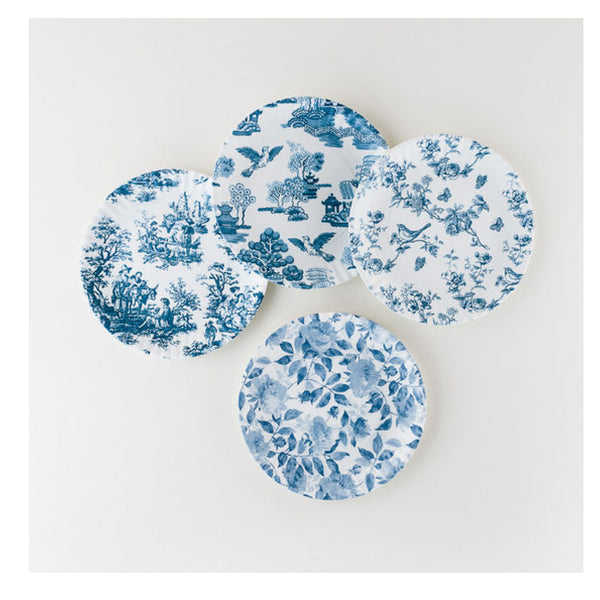 Set of 4 Toile Blue & White Side Plates