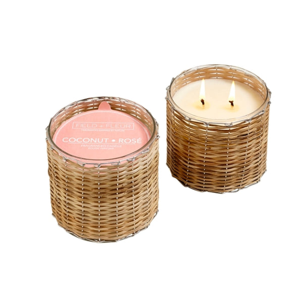 Coconut Rose Handwoven Wicker Candle