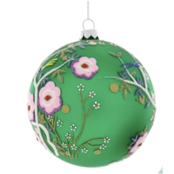 Chinoiserie Green Bird Bauble Ornament