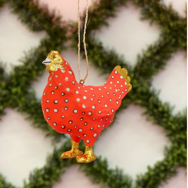 Red Merriment Hen Ornament