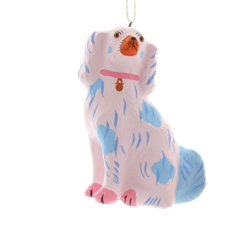 Pink and French Blue Staffordshire Dog Ornament