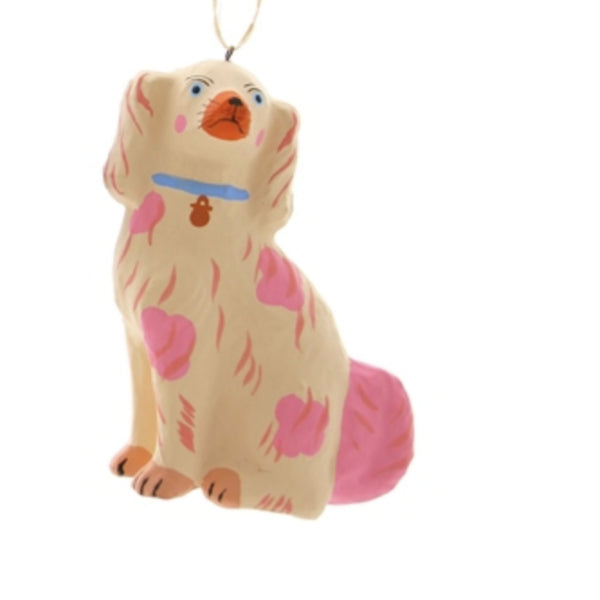 Peach and Pink  Staffordshire Dog Ornament