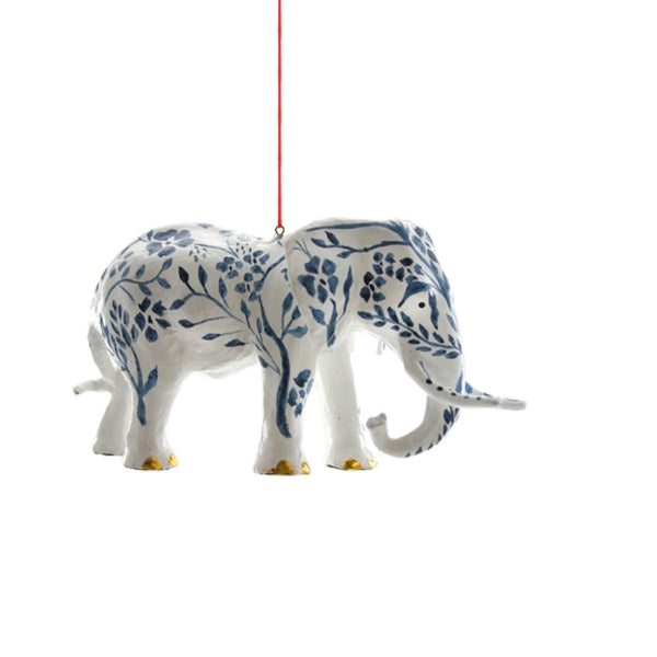 French Blue Chinoiserie Elephant Ornament