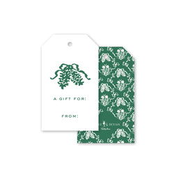 Green Flora Bow Gift Tag