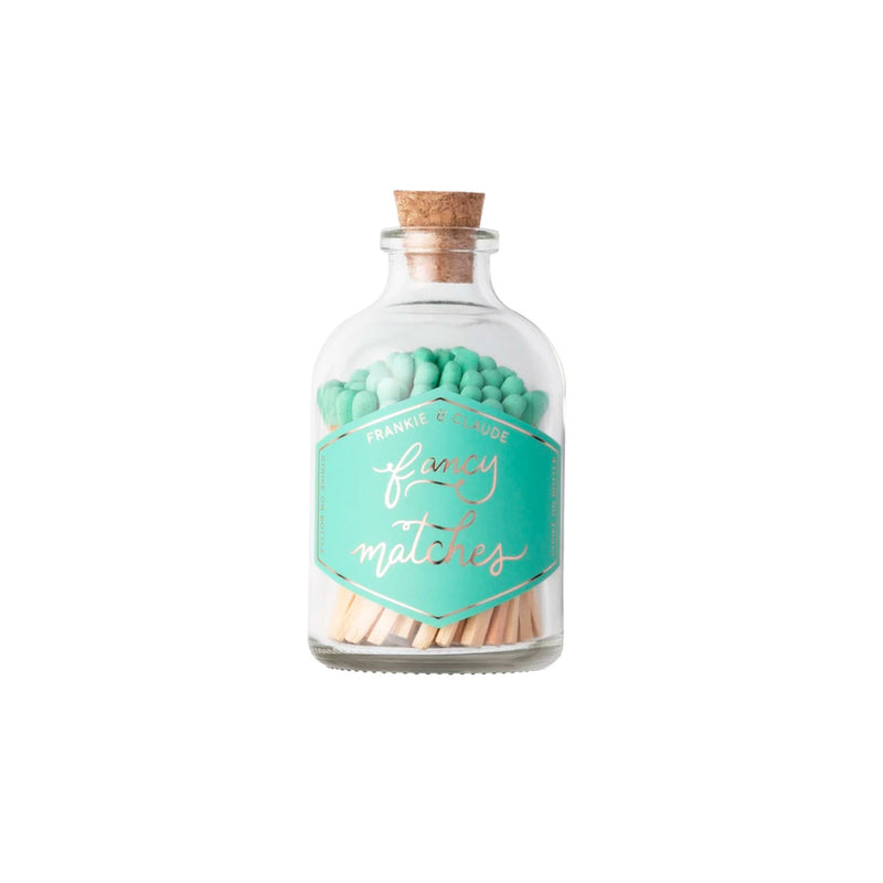 Fancy Matches Jar in Seafoam