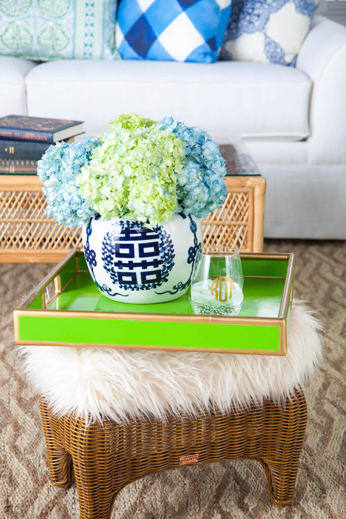 Faux Bamboo Tray - Lime Green