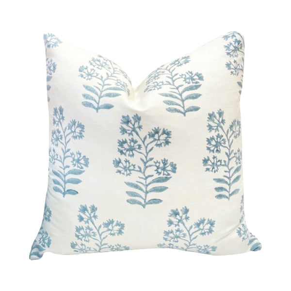 Floral Block Print Pillow in Soft Blue