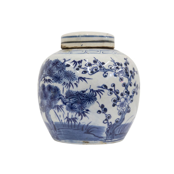 Blue & White Pine Tree Ginger Jar