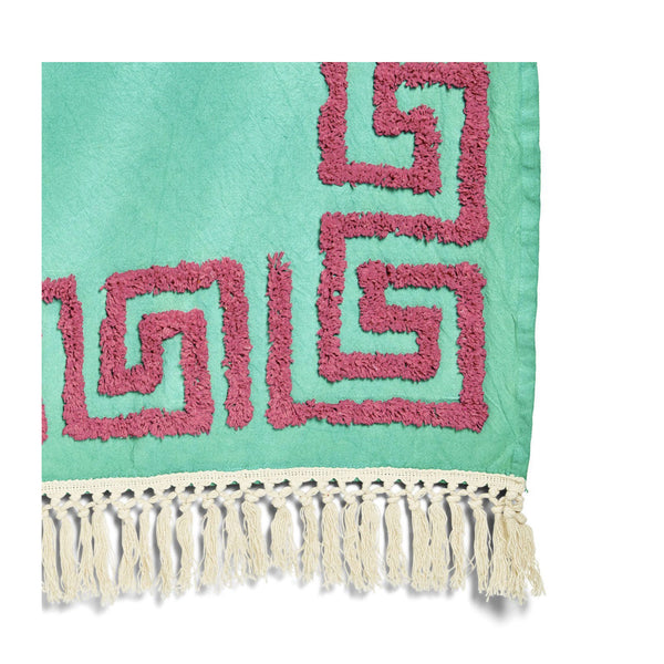 Green Meandros Tufted Greek Key Pattern Throw