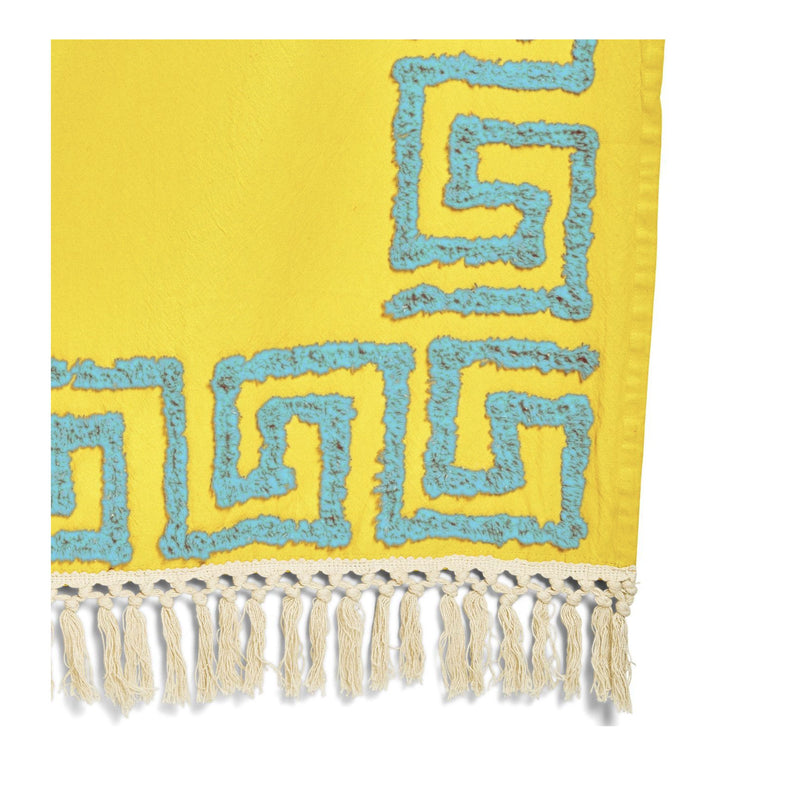 Yellow Meandros Tufted Greek Key Pattern Throw