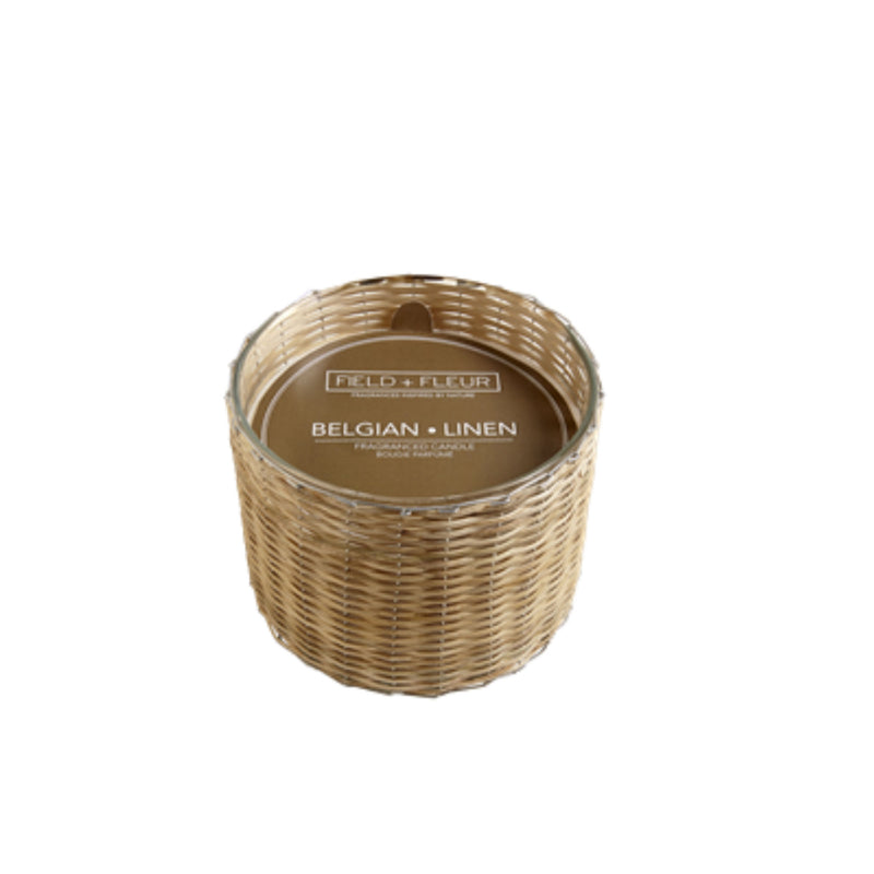 Belgian Linen Handwoven Wicker Candle