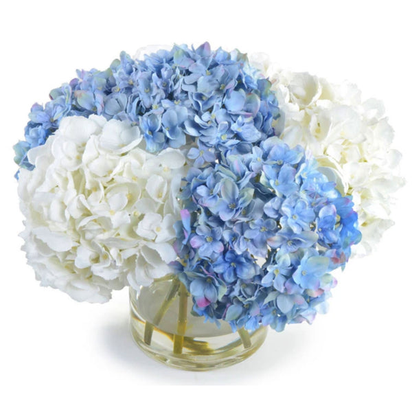Blue and White Hydrangea Bouquet in Glass Vase