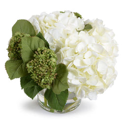 Green and White Hydrangea Bouquet in Glass Vase