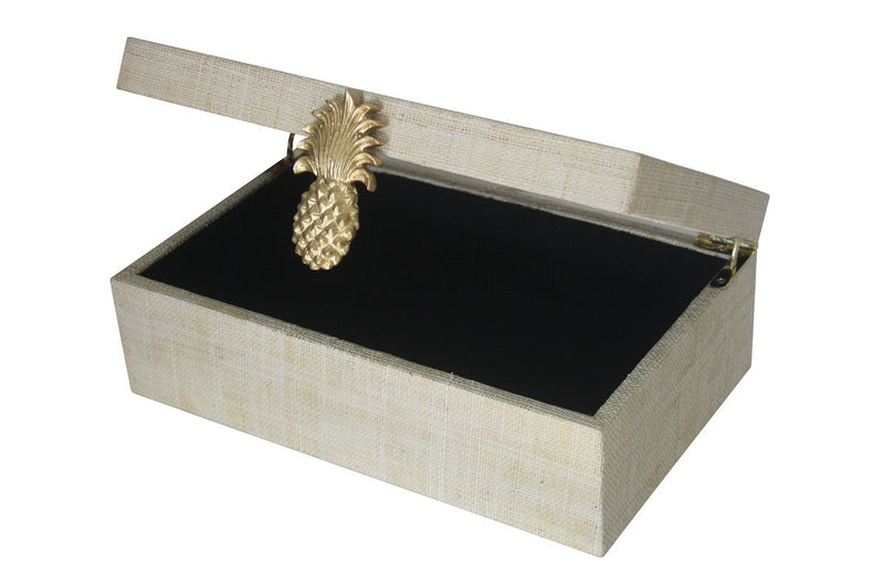 Grasscloth Pineapple Box - Natural