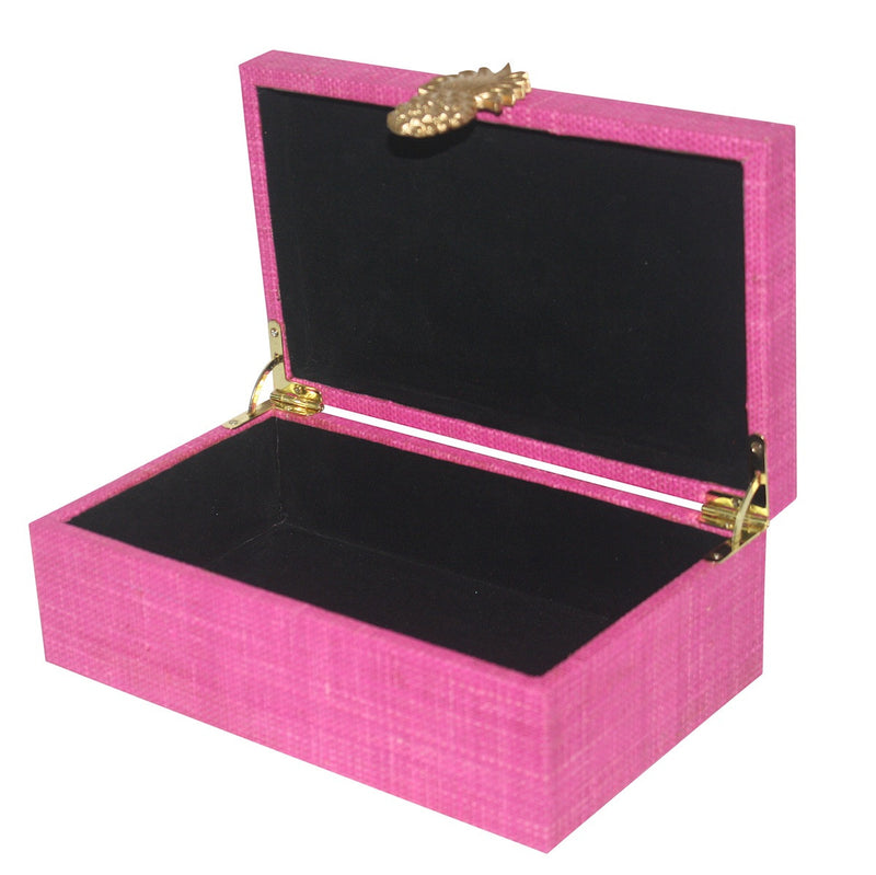 Grasscloth Pineapple Box - Pink