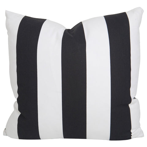 Black Slub and White Stripe Pillow