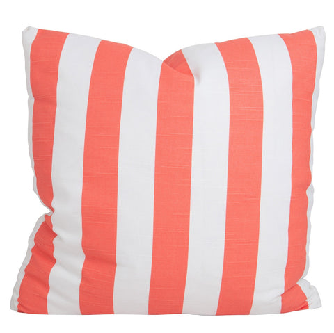 Coral Slub and White Stripe Pillow