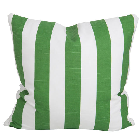 Green Slub and White Stripe Pillow