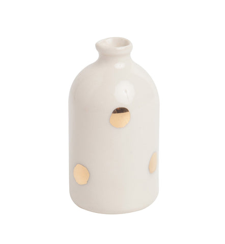 White + Polka Dot Gold Leaf Bud Vase