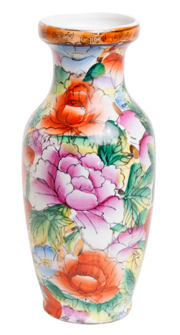 Floral and Greek Key Oriental Bud Vase
