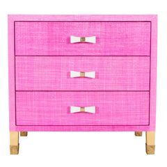Carmen Grasscloth Nightstand - Pink with Bow Pulls