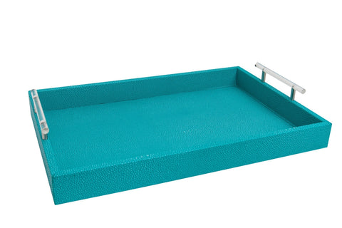 Turquoise Shagreen and Lucite Tray