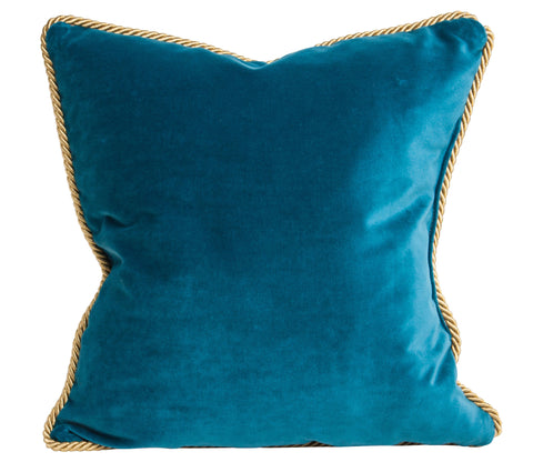 "Custom Size: 20x20"" Colorblock Velvet Pillow Deep Teal & Navy"