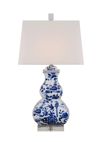 Blue and White Floral Gourd Lamp