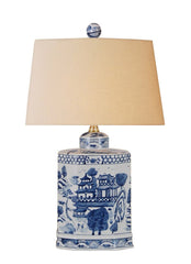 Chinoiserie Blue & White Lamp