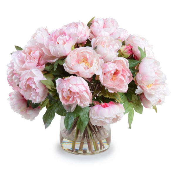 Large Pink Peony Bouquet in Glass Vase