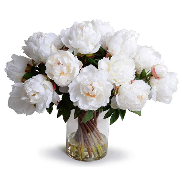 Large White Peony Bouquet in Glass Vase