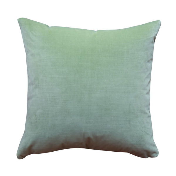 Colorblock Velvet Pillow - Leaf & Wedgewood