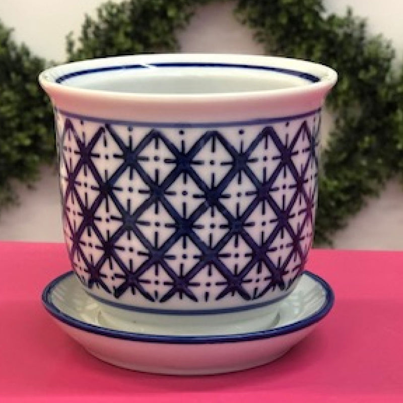 "4"" Porcelain Round Diamond Planter"