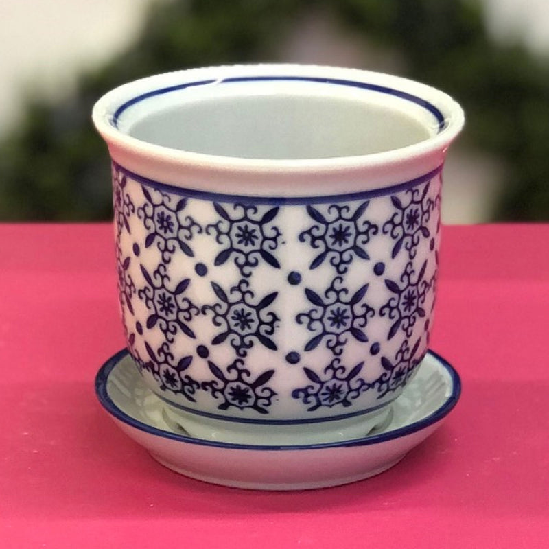 "4"" Porcelain Round Lattice Planter"