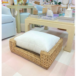 Woven Seagrass Dog Bed w/ Cream Polyester Cushion