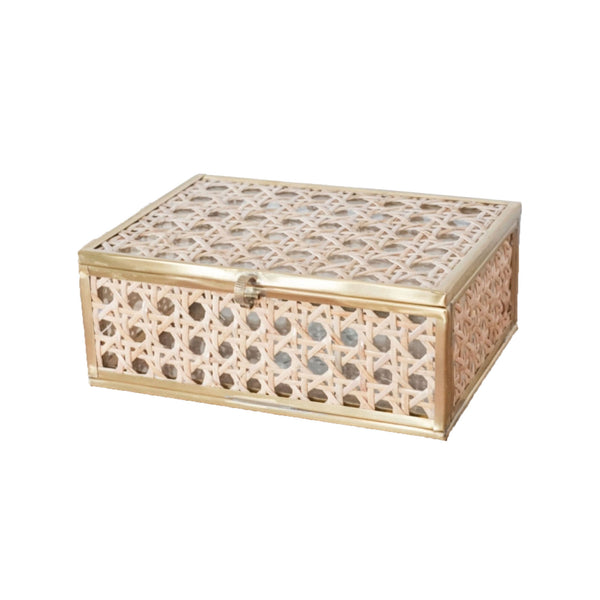 Medium Natural Cane Wicker Glass Display Box
