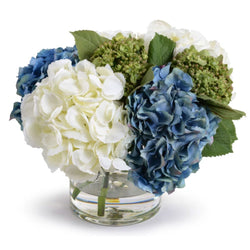 Mixed Hydrangea Bouquet in Glass Vase